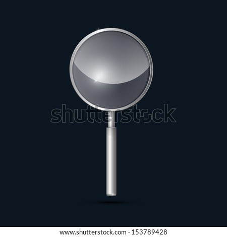 Vector Metal, Silver Magnifying Glass on Dark Background  - stock vector