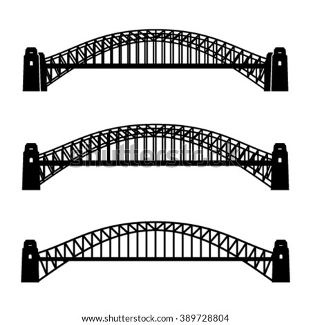 vector metal Sydney Harbour bridge black symbol - stock vector
