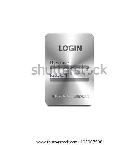 Vector metal texture login / register form - stock vector