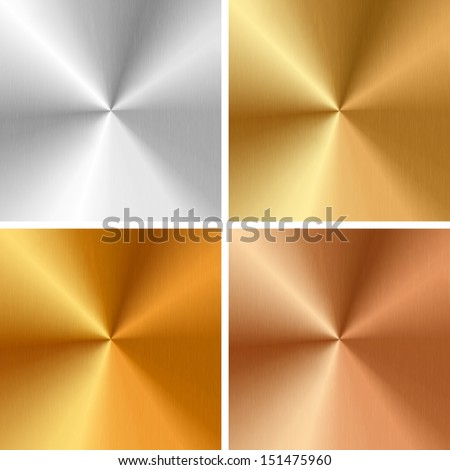 Vector metal textures - silver, gold, antique gold, bronze - stock vector