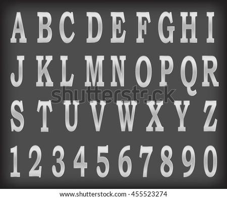 Vector metalic alphabet set illustration EPS10 - stock vector