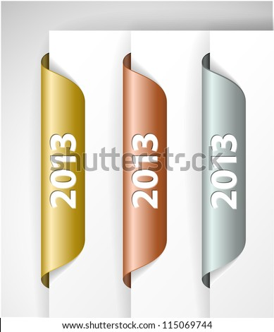 Vector metalic 2013 Labels / Stickers on the edge of the (web) page - stock vector