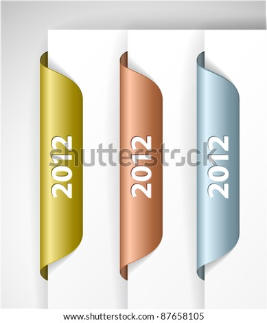 Vector metalic 2012 Labels / Stickers on the edge of the (web) page - stock vector