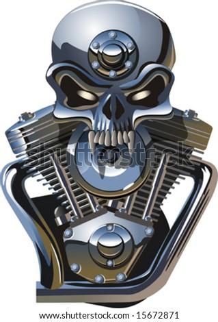 Vector metall skull with engine. More cartoon transportation illustrations see in my portfolio. - stock vector