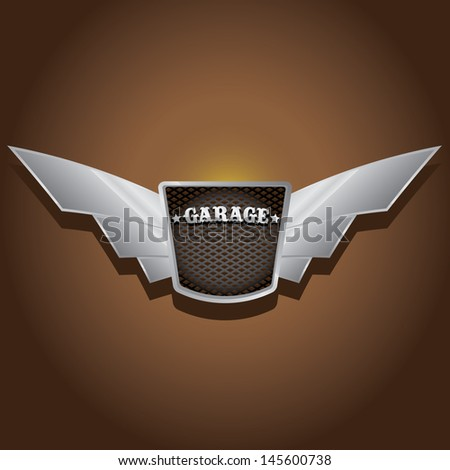 Vector metallic automotive, motorcycle badge with wings. Signs and labels. - stock vector