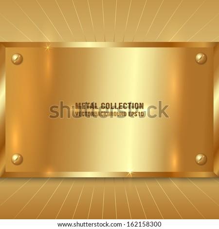 Vector Metallic Award Golden Plate with Screws - stock vector