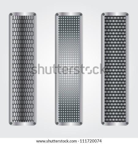 Vector metallic banners set .eps10 - stock vector