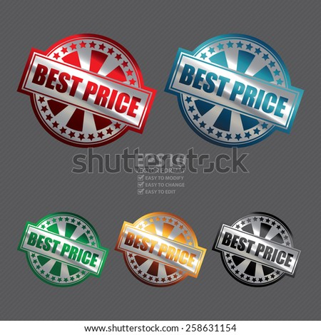 Vector : Metallic Best Price Badge, Icon, Sticker, Banner, Tag, Sign or Label  - stock vector