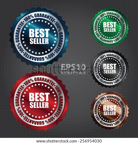 vector : metallic best seller 100% guarantee icon, tag, label, badge, sign, sticker - stock vector
