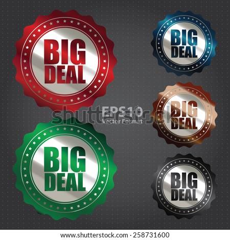 vector : metallic big sale sticker, badge, icon, stamp, label, banner, sign - stock vector