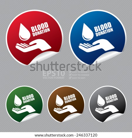Vector : Metallic Blood Donation Sticker, Icon or Label - stock vector