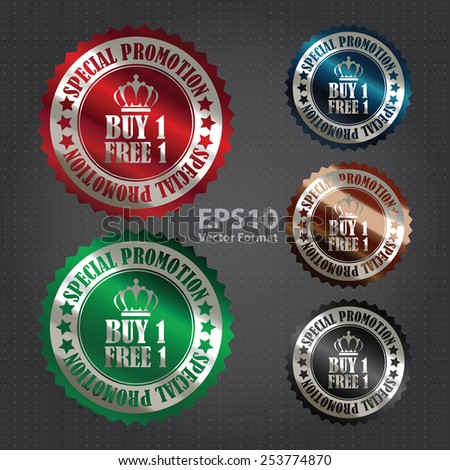 vector : metallic buy 1 free 1 special promotion promotional sale icon, tag, label, badge, sign, sticker - stock vector