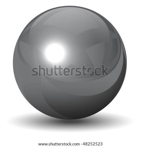 Vector metallic chrome sphere, ball glossy and shining. - stock vector