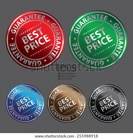 Vector : Metallic Circle Best Price Guarantee Icon, Label, Banner, Tag or Sticker - stock vector