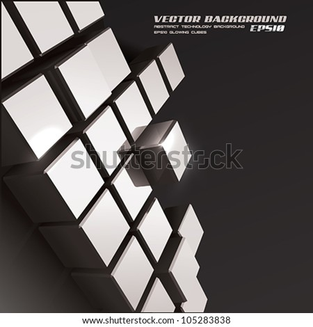 Vector metallic cubes. Technology background - stock vector