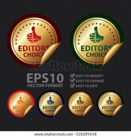 Vector : Metallic Editors Choice Infographics Peeling Sticker, Label, Icon, Sign or Badge - stock vector