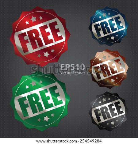vector : metallic free sticker, banner, sign, icon, label - stock vector