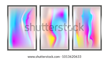 Vector Metallic Holographic Background Set. Neon shining background.