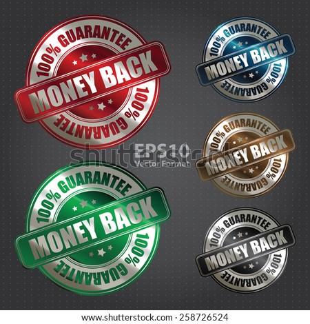 vector : metallic money back 100% guarantee sticker, badge, icon, stamp, label, banner, sign - stock vector