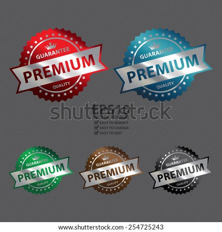 Vector : Metallic Premium Guarantee Quality Icon, Label, Sign or Sticker