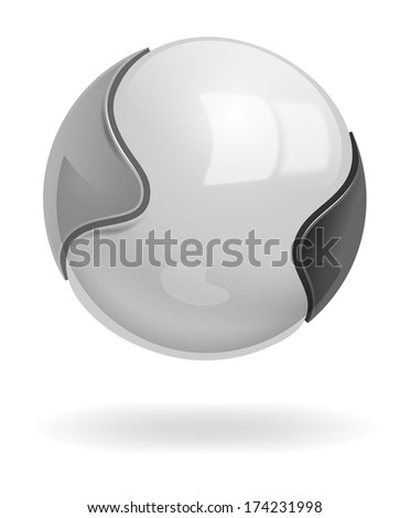 Vector Metallic Shiny Ball on White Background, Eps 10 Vector, Gradient Mesh and Transparency Used, Raster version Available - stock vector