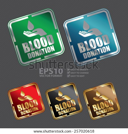 Vector : Metallic Square Blood Donation Icon, Sticker, Banner, Tag, Sign or Label - stock vector