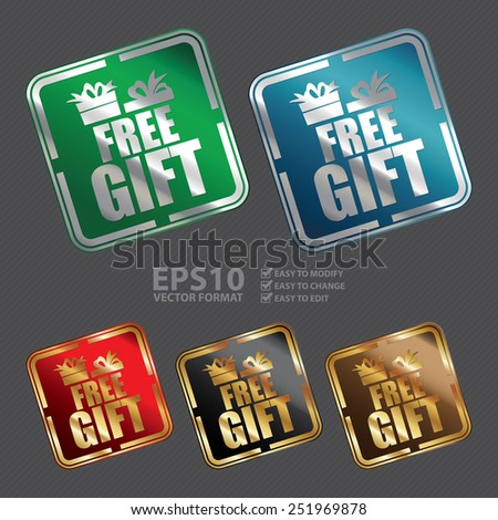 Vector : Metallic Square Free Gift Icon, Sticker, Banner, Tag, Sign or Label - stock vector