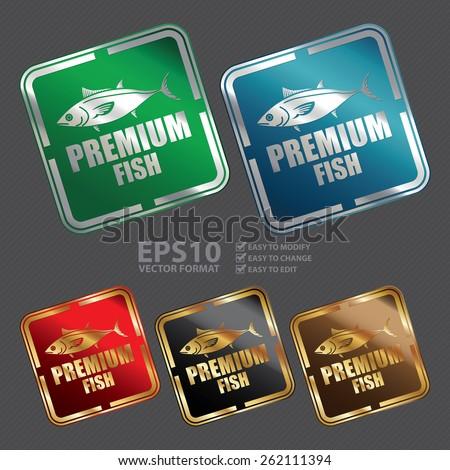 Vector : Metallic Square Premium Fish Icon, Sticker, Banner, Tag, Sign or Label - stock vector