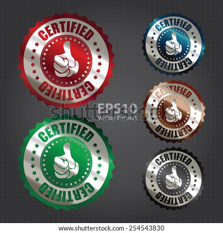 vector : metallic style certified sticker, banner, sign, icon, label