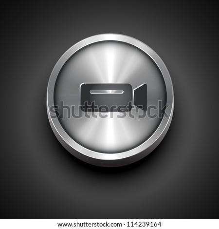 vector metallic video camera icon design - stock vector