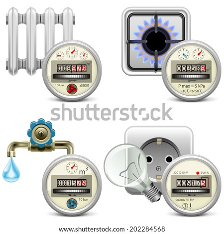 Vector Meter Icons - stock vector