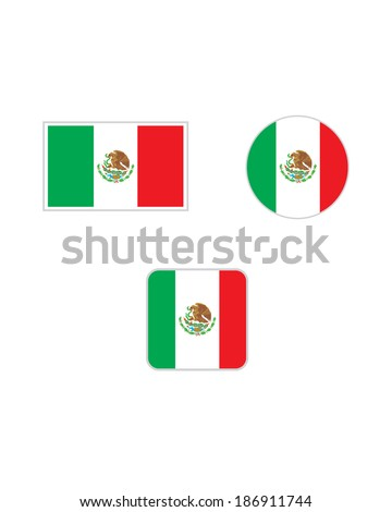 Vector Mexican flag and icon set - stock vector