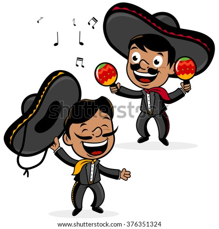 Vector Mexican mariachi cartoon men wearing sombreros, singing and playing the maracas. - stock vector