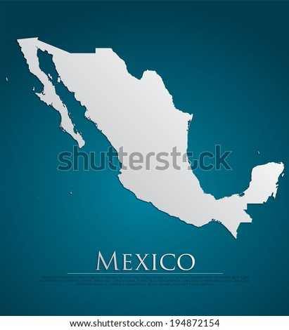 vector Mexico Map card paper on blue background, high detailed - stock vector