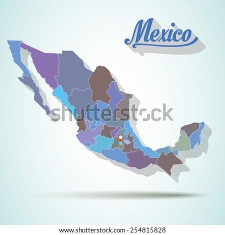 Vector mexico map detailed - stock vector