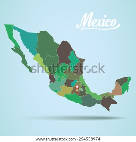 Vector Mexico Map States - stock vector