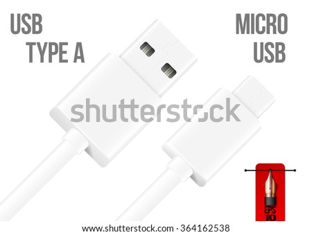 Vector micro usb to usb type A cable - stock vector