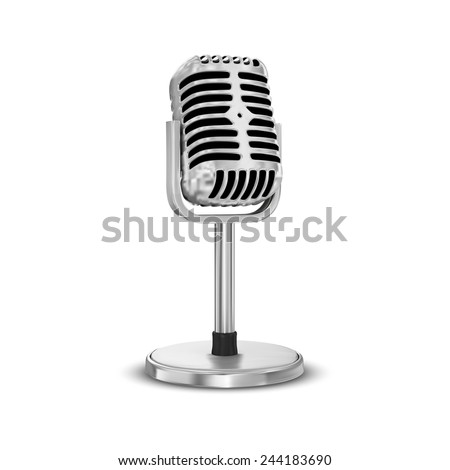 Vector microphone isolated on white background - stock vector