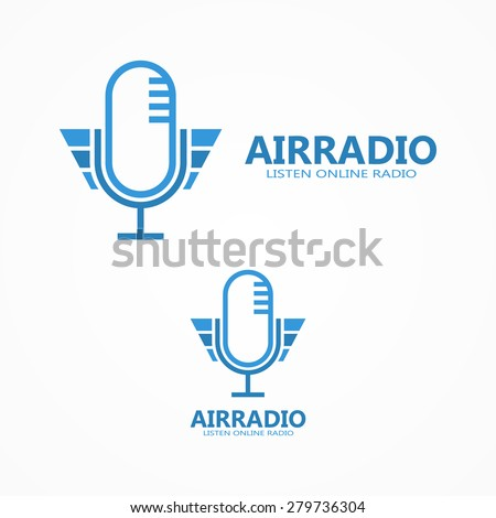 Vector microphone logo - stock vector