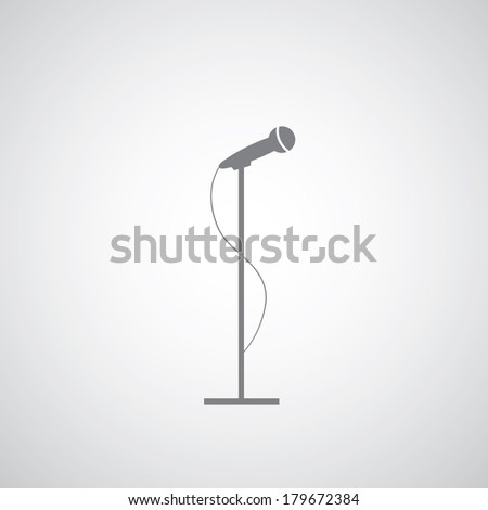 vector microphone on gray background  - stock vector