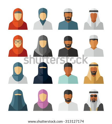 Vector Middle Eastern People Icons  - stock vector