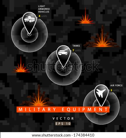 Vector military equipment infographics - stock vector