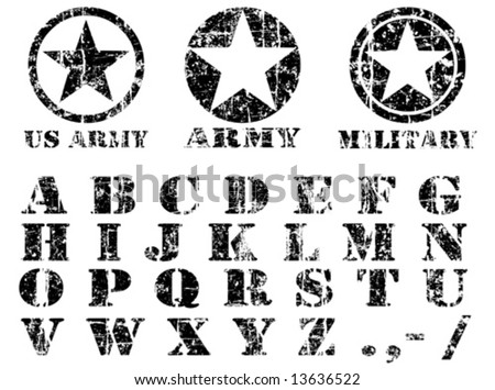 Vector Military vintage Font