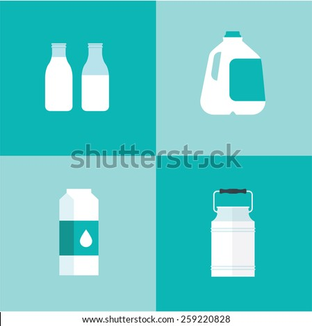vector milk icon package types - stock vector