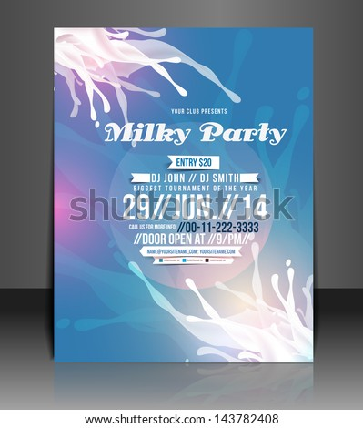 Vector Milky Party Flyer, Magazine Cover & Poster Template - stock vector