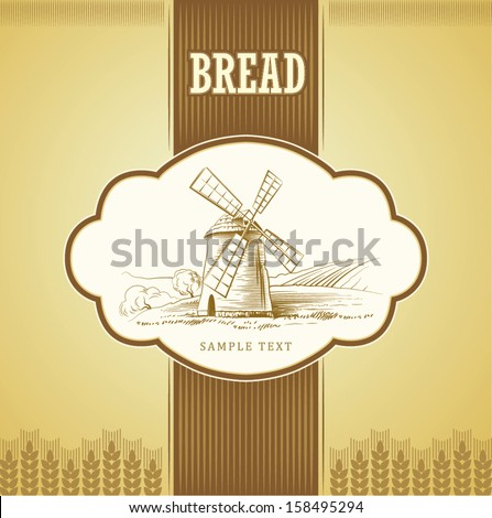 Vector mill on field. labels, pack for bread, spaghetti, pasta - stock vector