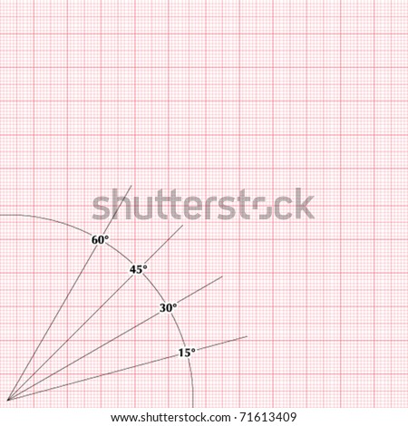 Vector millimeter paper with degrees - stock vector