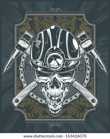 Vector Miner Skull - stock vector