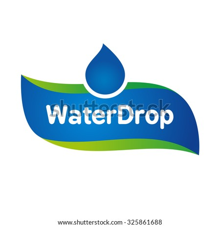 Vector Mineral Bottled Spring water logo label template - stock vector