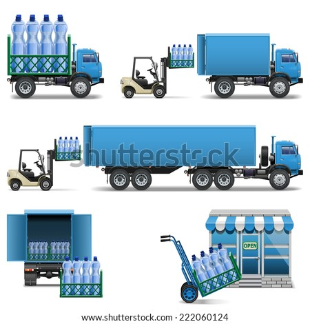 Vector Mineral Water Shipping - stock vector